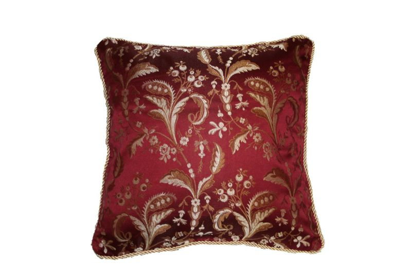 "Luxury Damask 18"" X 18"" Decorative Throw Pillow - Burgundy"