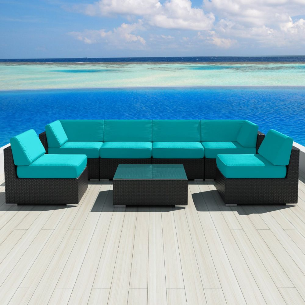 Luxxella Patio Outdoor Wicker Furniture Sunbrella Genuine Collection Bella 7-piece Couch Sectional Sofa Set (Canvas Aruba 5416)