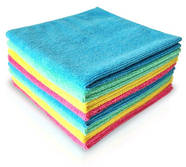 "MICROFIBER CLEANING CLOTH 14""x14"" (8 PACK) ALL PURPOSE, HIGHLY ABSORBENT, LINT-FREE, ANTIBACTERIAL, SOFT, SCRATCH FREE. Versatile Micro Fiber Cloths Use As Towels, Wipes, Washcloth, Windows & Mirror Cleaner, Drying Dishes & Polishing, For House / Hotel Supplies, Car / Auto Detailing. Color-Code Your Cleaning, And Get Your Home Eco-Friendly Without Using Harmful Detergents Or Chemicals (Just Water) And Start Saving Money Over Conventional Cleaners Today! By Dunin'Dustid."