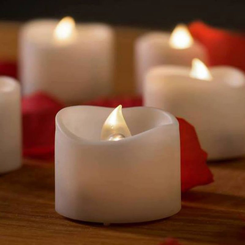 "Mars Flameless Candles - 12 White Bright Battery Operated Candles Tea Lights Romantic Unscented Fake Rose Petals - For Votive Holders, Wedding, Birthdays, Party Decorations, - 1.4""x1.4""."