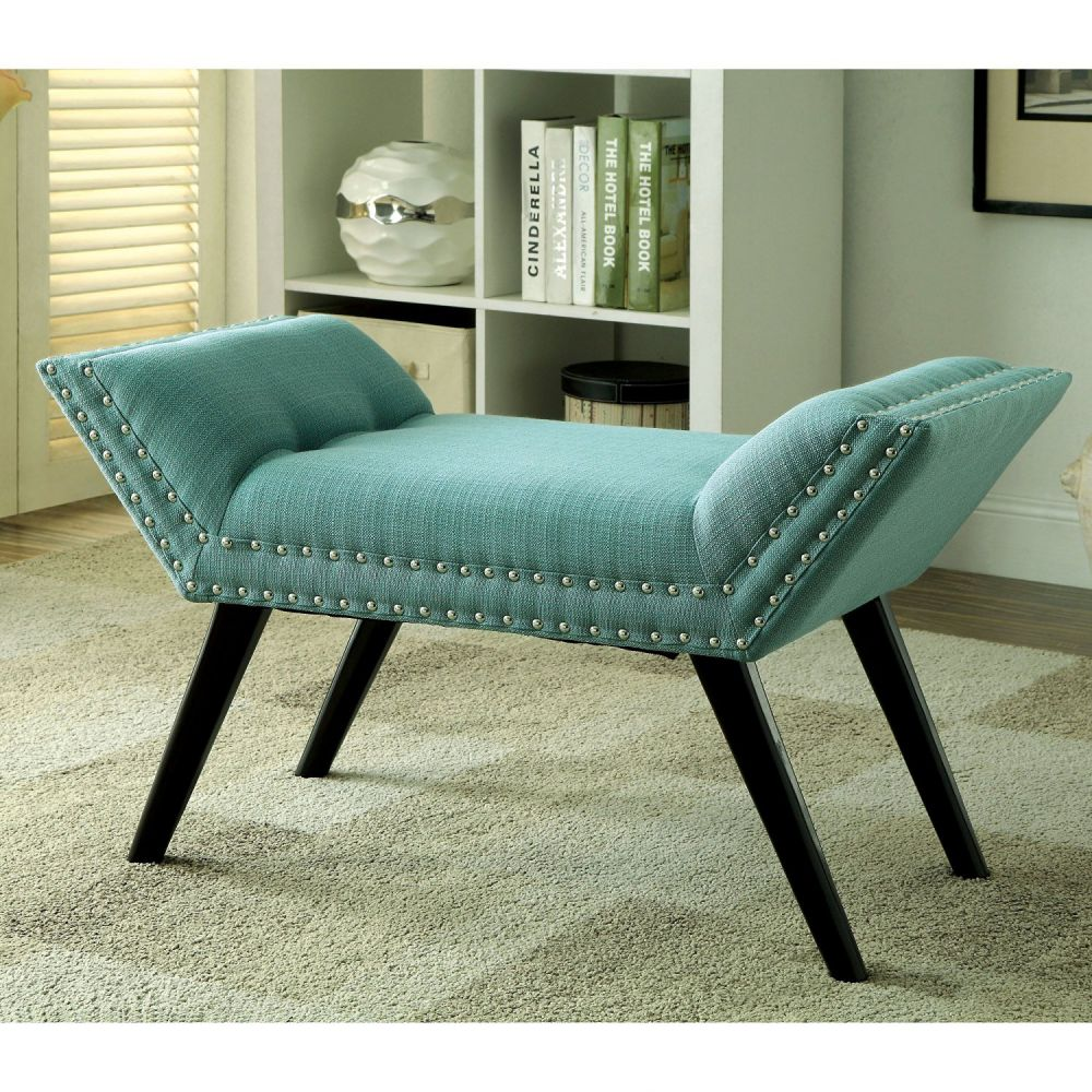 Modern Style Button Tufted Angled Bench Linen or Faux Leather Seat | Black Finish Wooden Legs - Includes ModHaus Living Pen (Blue Linen)
