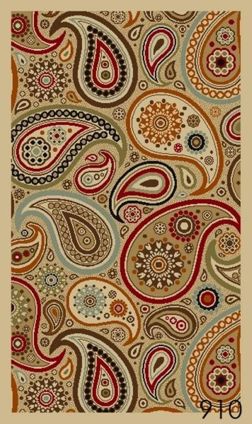 NEW Multi Paisley Floral Design Rubber backed durable Area Rug Carpet 5x7