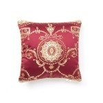 Prestige Damask Design Decorative Throw Pillow Color: Burgundy
