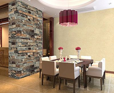 QIHANG Three-dimensional Wallpaper Brick Wall Wallpaper 3D Textured Bricks Cyan-blue Color