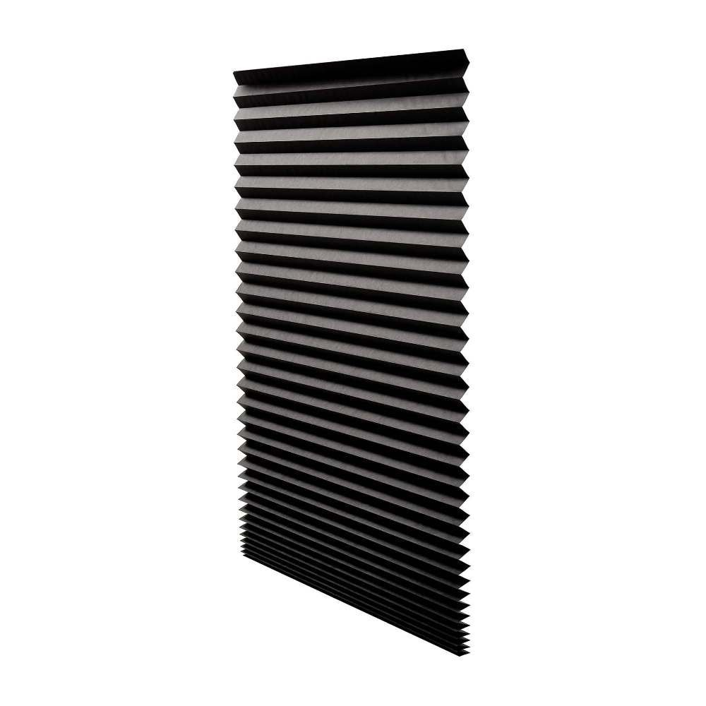 "Quick Fix Blackout Pleated Paper Shade Black, 36"" x 72"", 6 Pack"