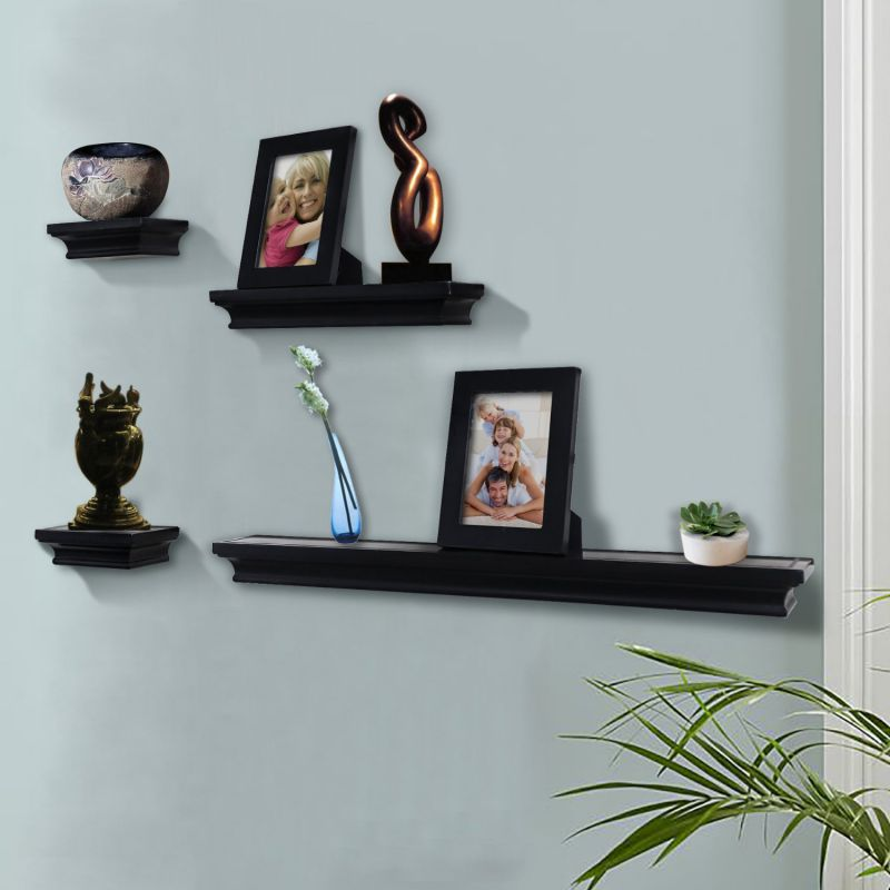 Shelving Solution 6 Pieces Wall Shelf Set (Black)