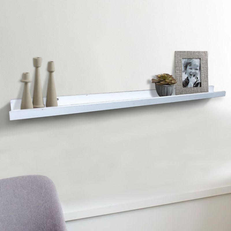 "Shelving Solution Large ""L"" Shaped Floating Shelf (White 45 1/4 Inch)"