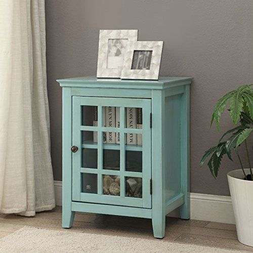 Single Door Cabinet in Antique Turquoise Finish