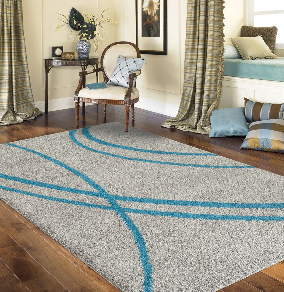 "Soft Cozy Contemporary Stripe Turquoise Gray 7'10"" X 10' Indoor Shag Area Rug"