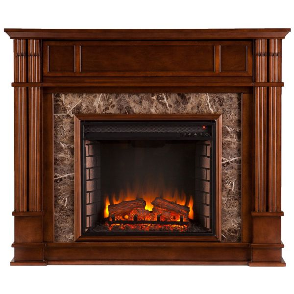Southern Enterprises Highgate Faux Stone Electric Media Fireplace Whiskey Maple