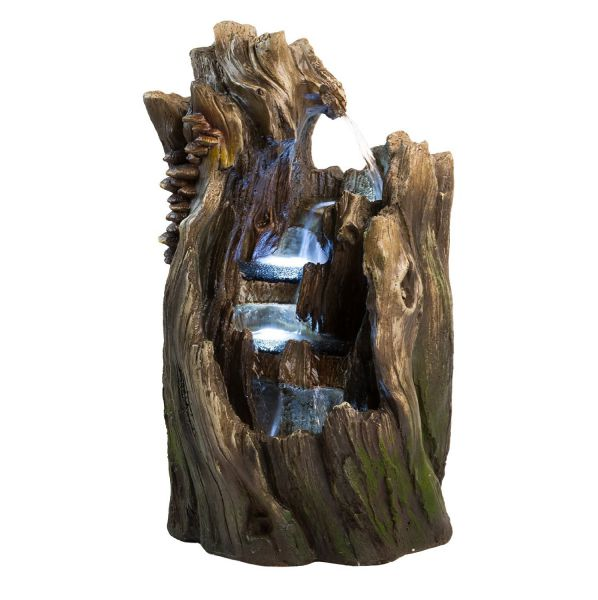 "22"" Walnut Log Indoor/Outdoor Garden Fountain: Tiered Outdoor Water Feature for Gardens & Patios. Original Hand-crafted Design w/ LED Lights."