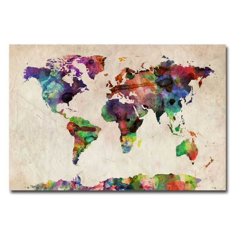 Trademark Fine Art Urban Watercolor World Map by Michael Tompsett Canvas Wall Art, 22x32-Inch