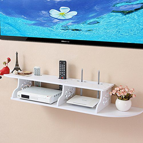 Tribesigns Modern Carved 2 Tier Wall Mount Floating Shelf Storage Rack for DVD Players / Cable Boxes / Games Consoles and TV Component, White