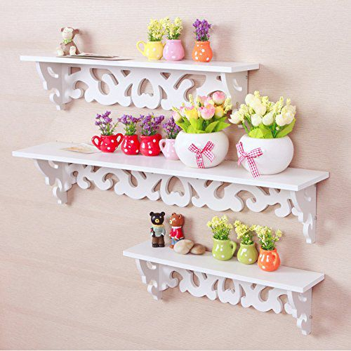 Tribesigns Modern Filigree Style Wall Mount Floating Shelves for CD Book Display Storage Canddle Utility Rack, Set of 3, White