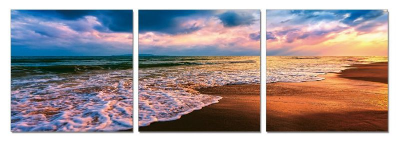 Unreal Sunset. 71 x 24 inches. Ready to Hang. Contemporary Art, Modern Wall Decor, 3 Panel Wood Mounted Giclee Canvas Print. A1247XL