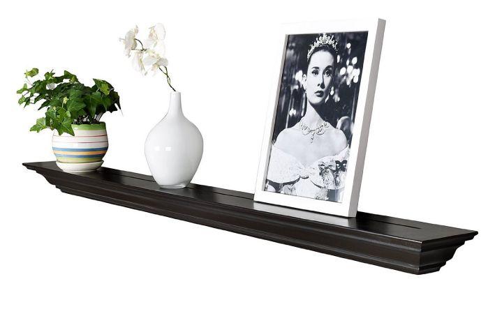 WELLAND 60 Inch x 3.25 Inch x 5.25 Inch Corona Crown Molding Wall Shelf Espresso