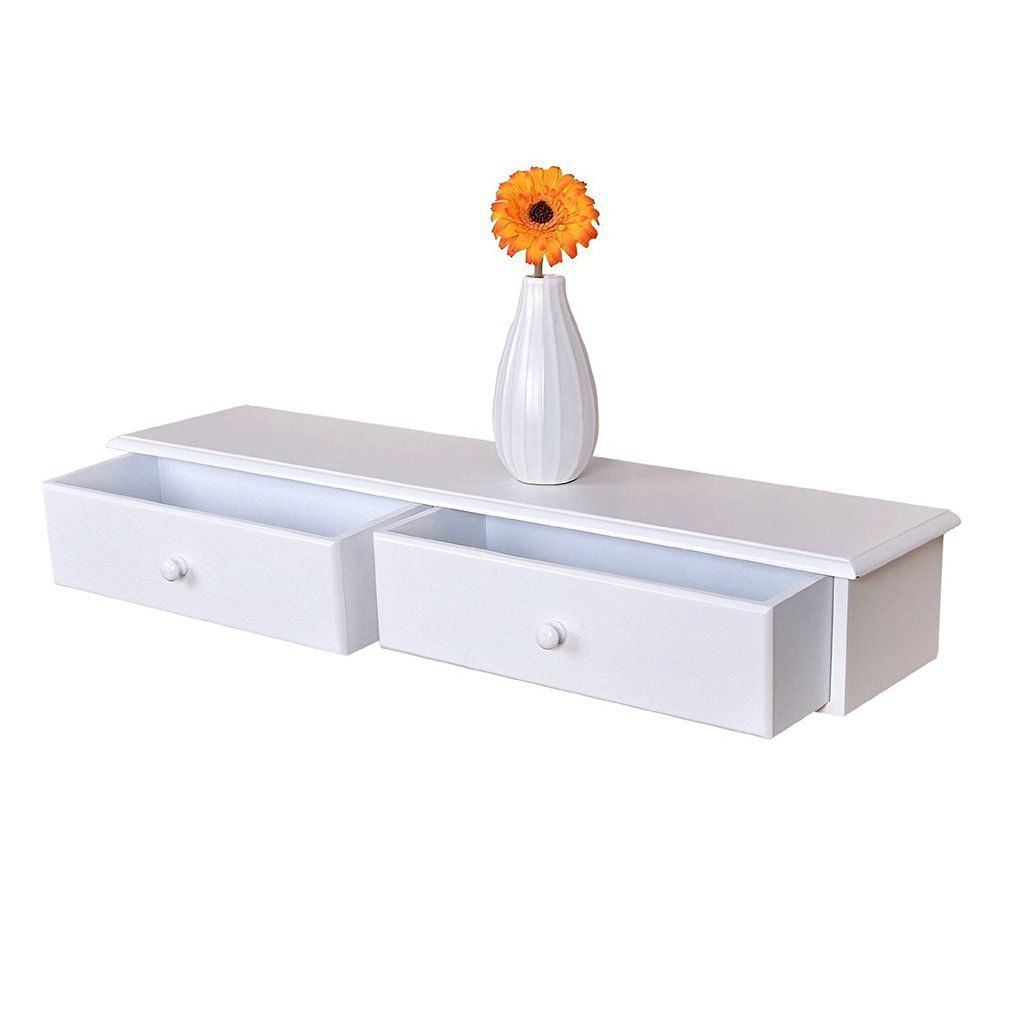 WELLAND Wall-Mounted Storage Shelf with 2 Drawers, White