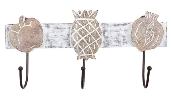 Wooden Wall Key Rack Holder with 3 Hooks Decorative Home Accessory (Fruits Design)