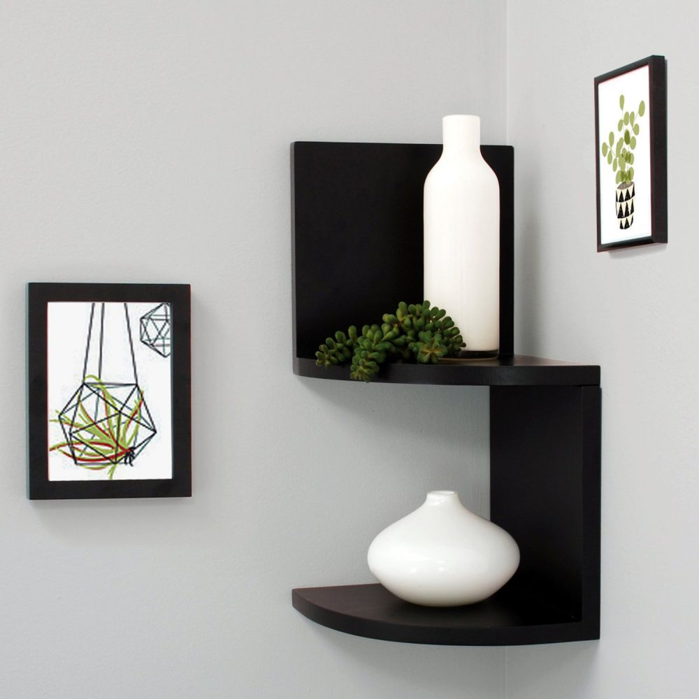 nexxt Corner Shelves, 7.75x7.75 Inch - Black