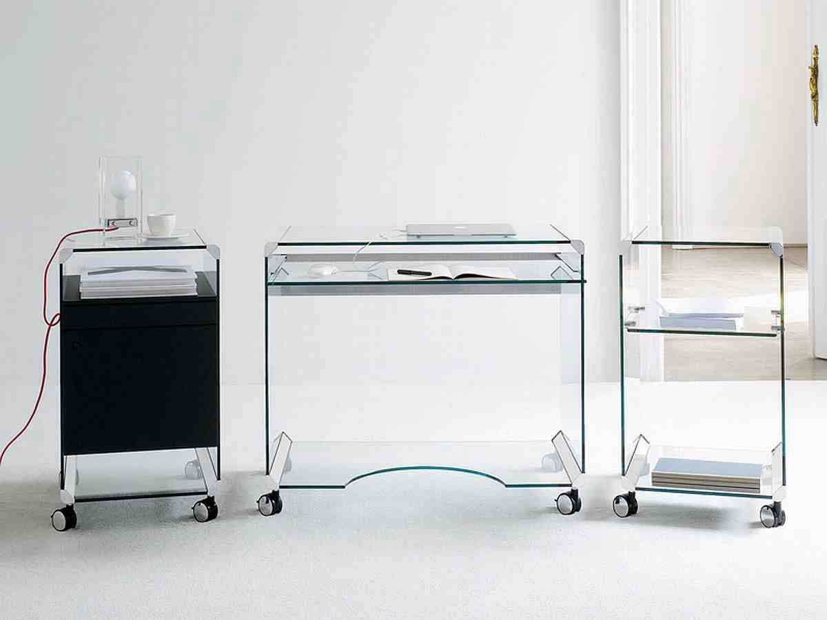 Gallotti and Radice glass computer workstation with storage