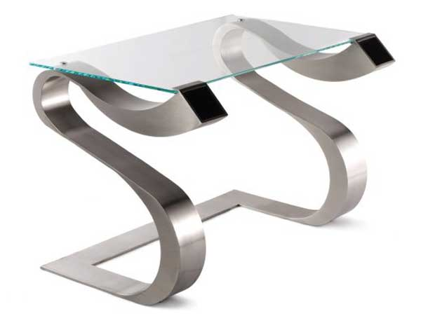Glass writing desk with curved stainless steel legs