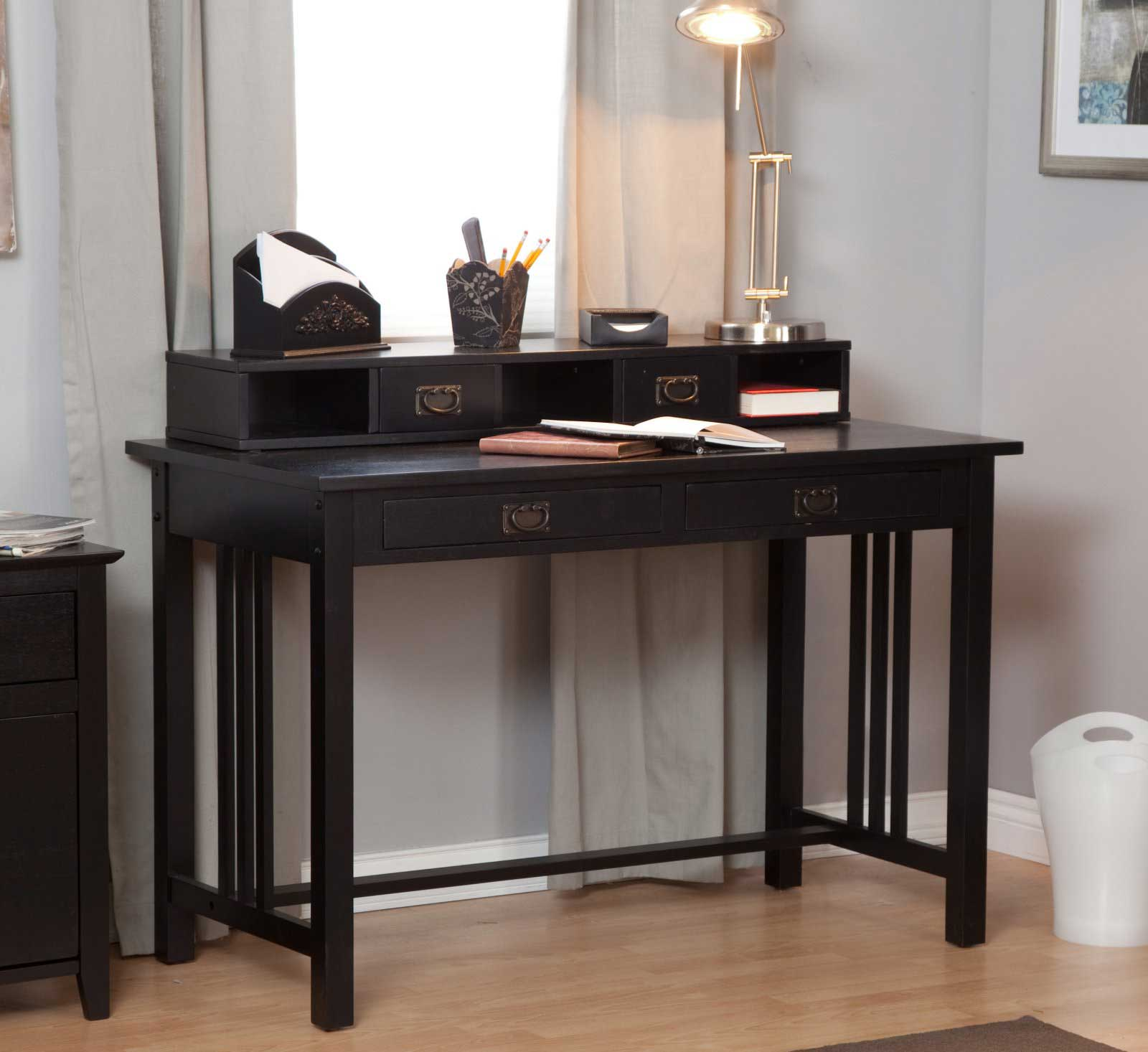 Mission black laptop writing table with hutch