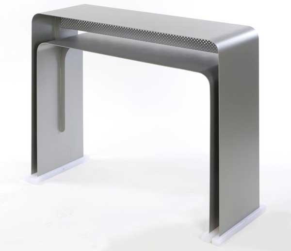 minimalist stainless steel computer table