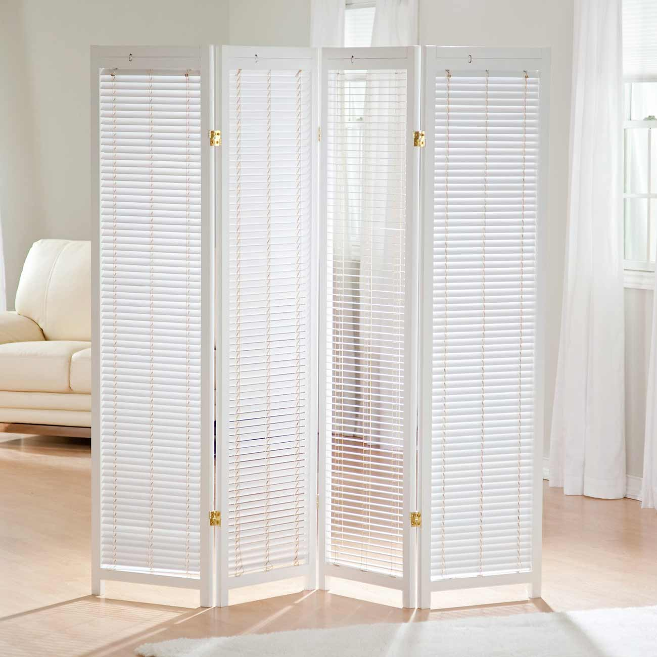 4 panels white Tranquality room divider shutter screen