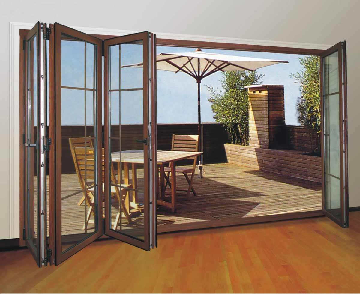 5 panel folding tempered laminated glass wall design