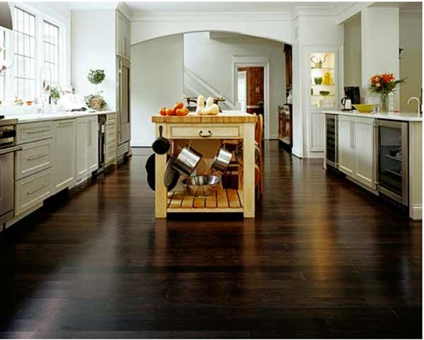 Beautiful dark bamboo kitchen flooring