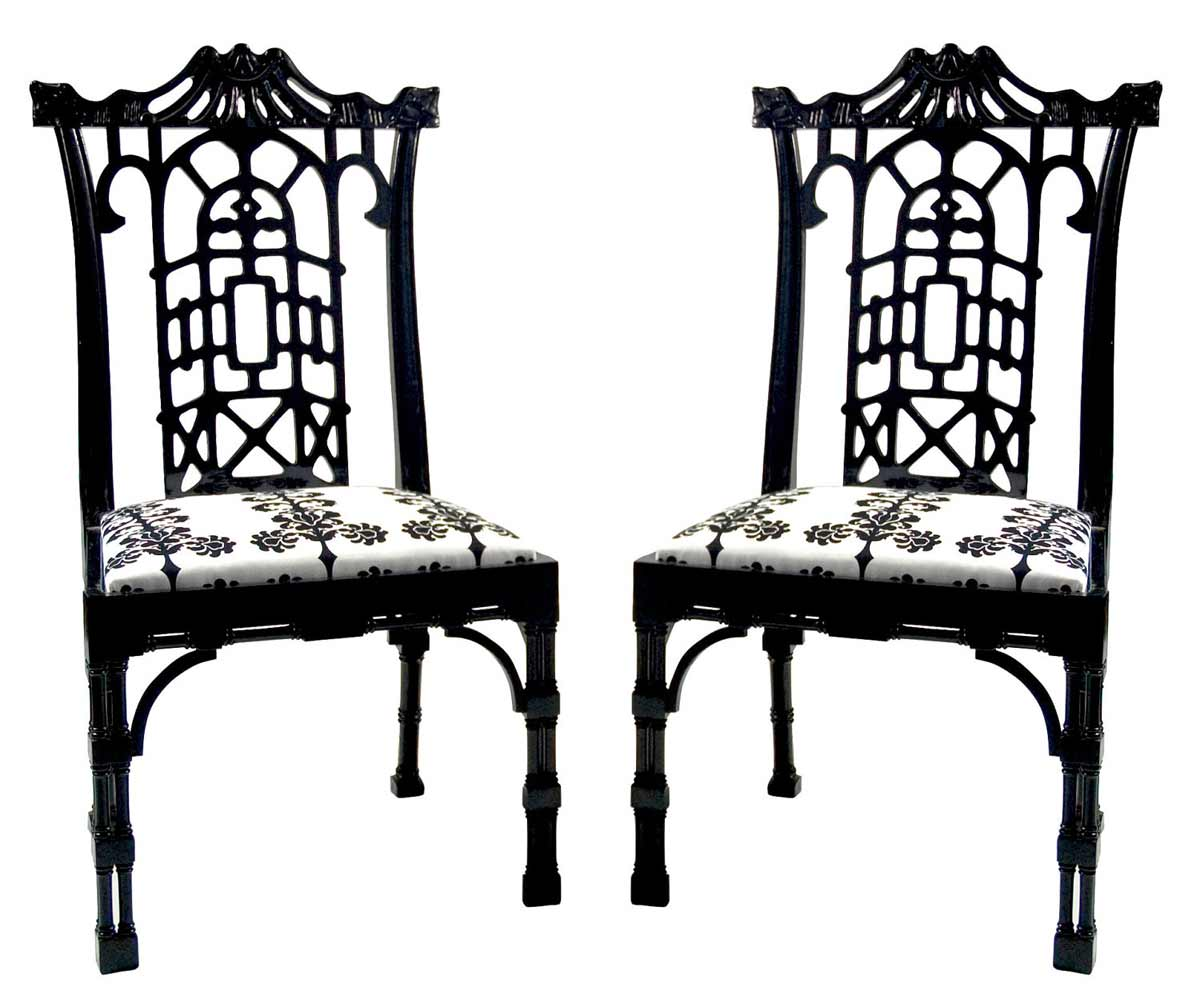 Chippendale vintage custom black and white side chairs