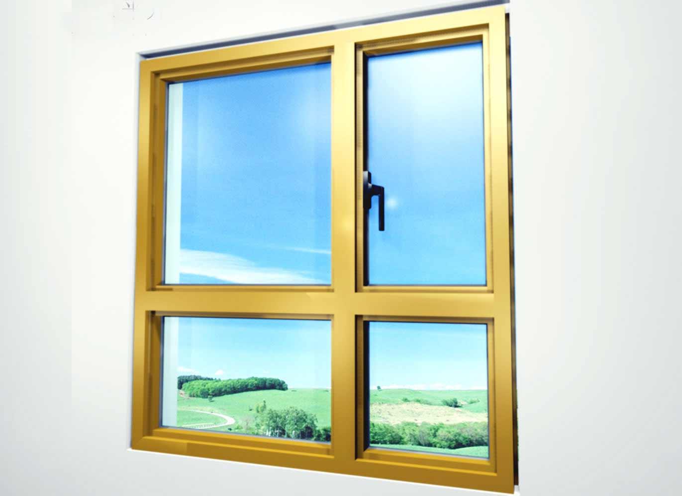 Golden metal awning windows design