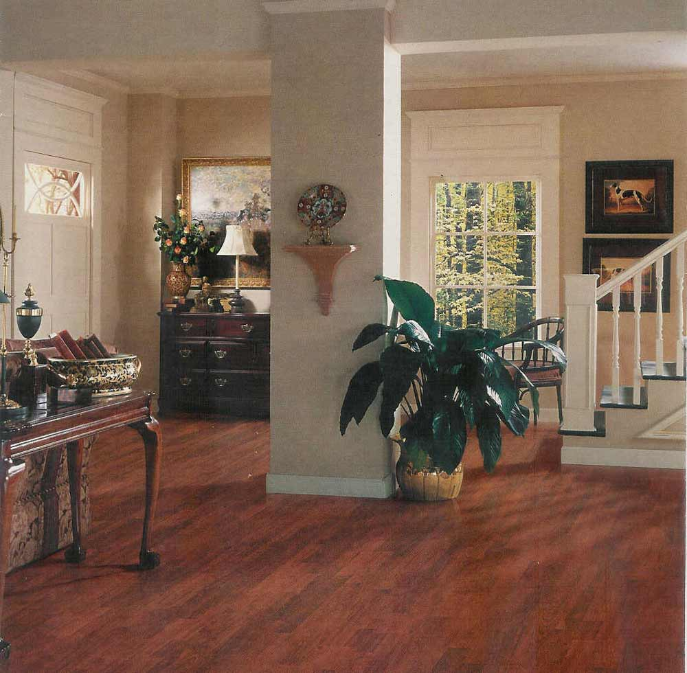 Home floor in laminate cover