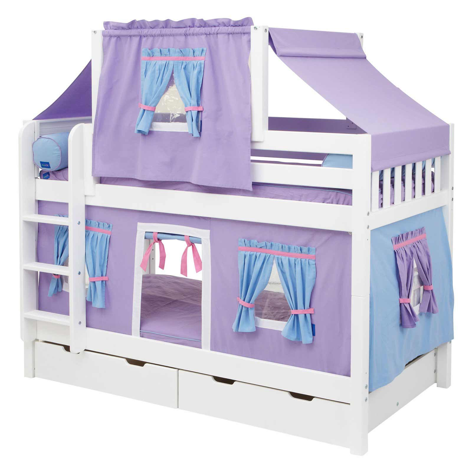Hot Shot Purple Girl Bunk Bed with Twin Deluxe Tent