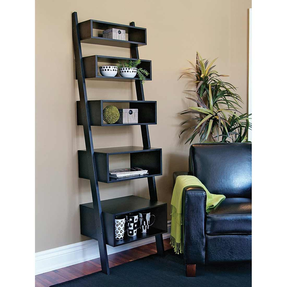 Linea 5 tier black leaning wall shelves orion series