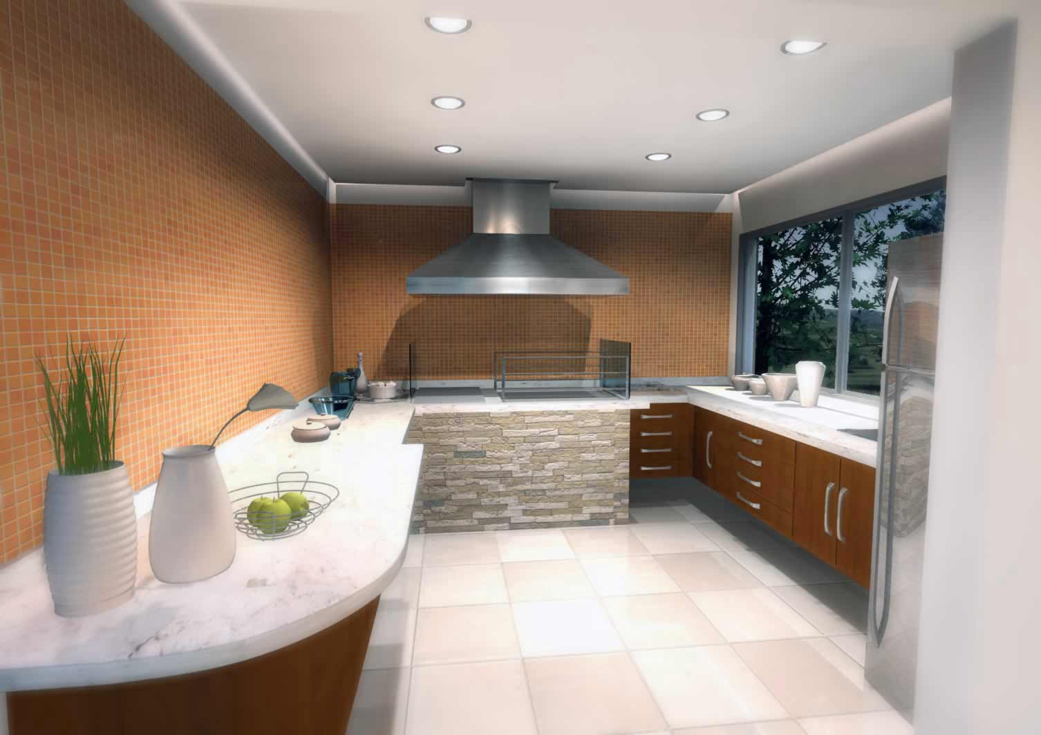 Modern white tile kitchen flooring design