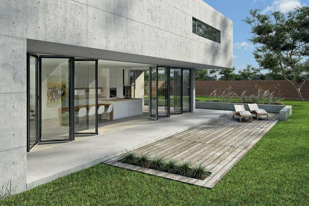 Nana SL82 glazed folding glass wall system