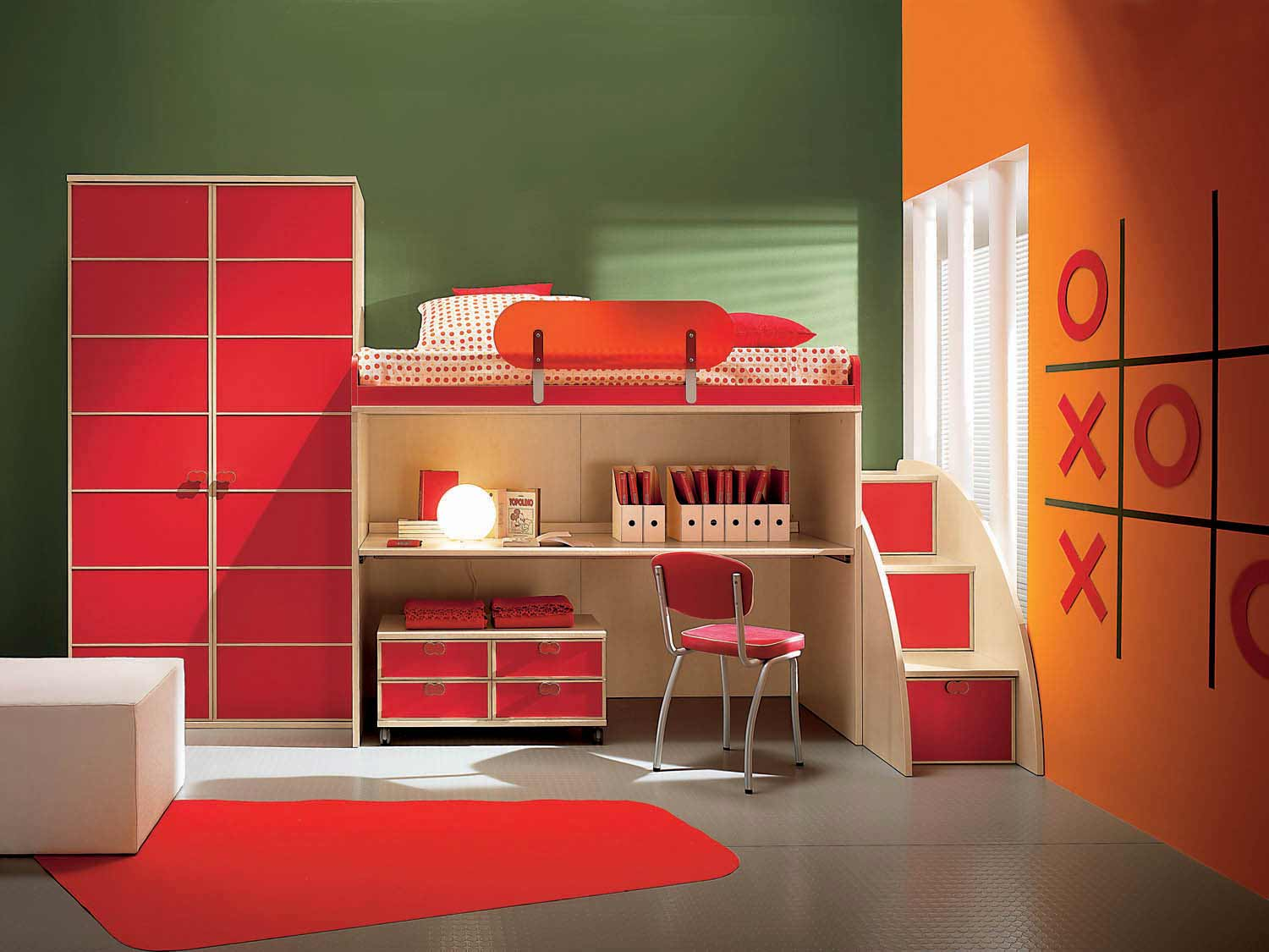 Small Childrens Bedrooms Design in Red Accent