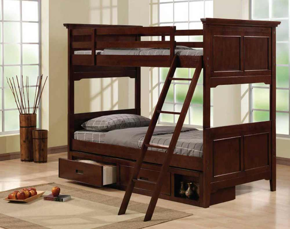 Solid Walnut Twin Bed with Under Storage