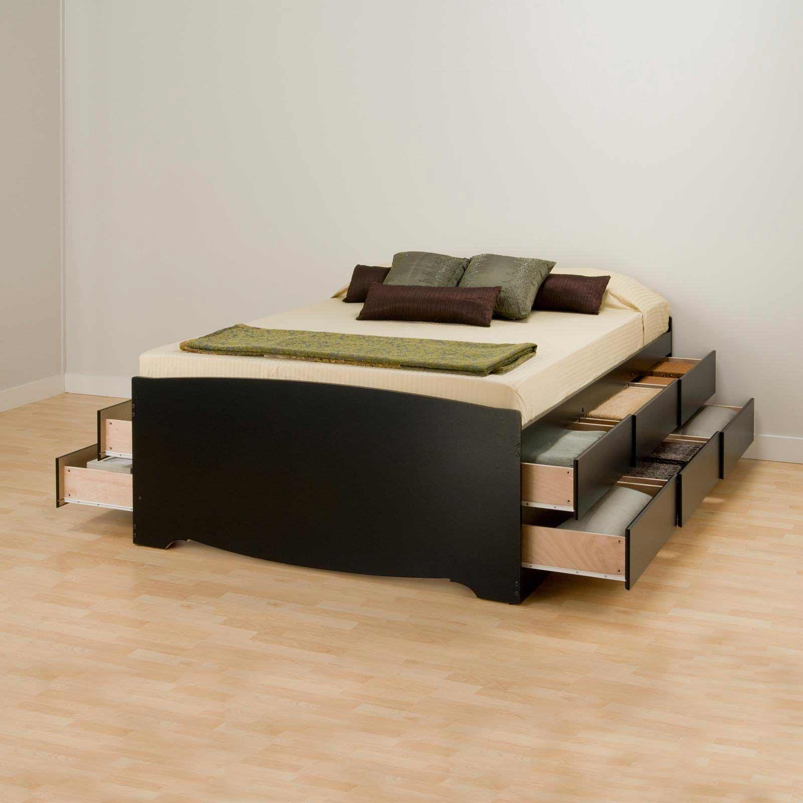 Tall Platform Bed with Double Side Storage