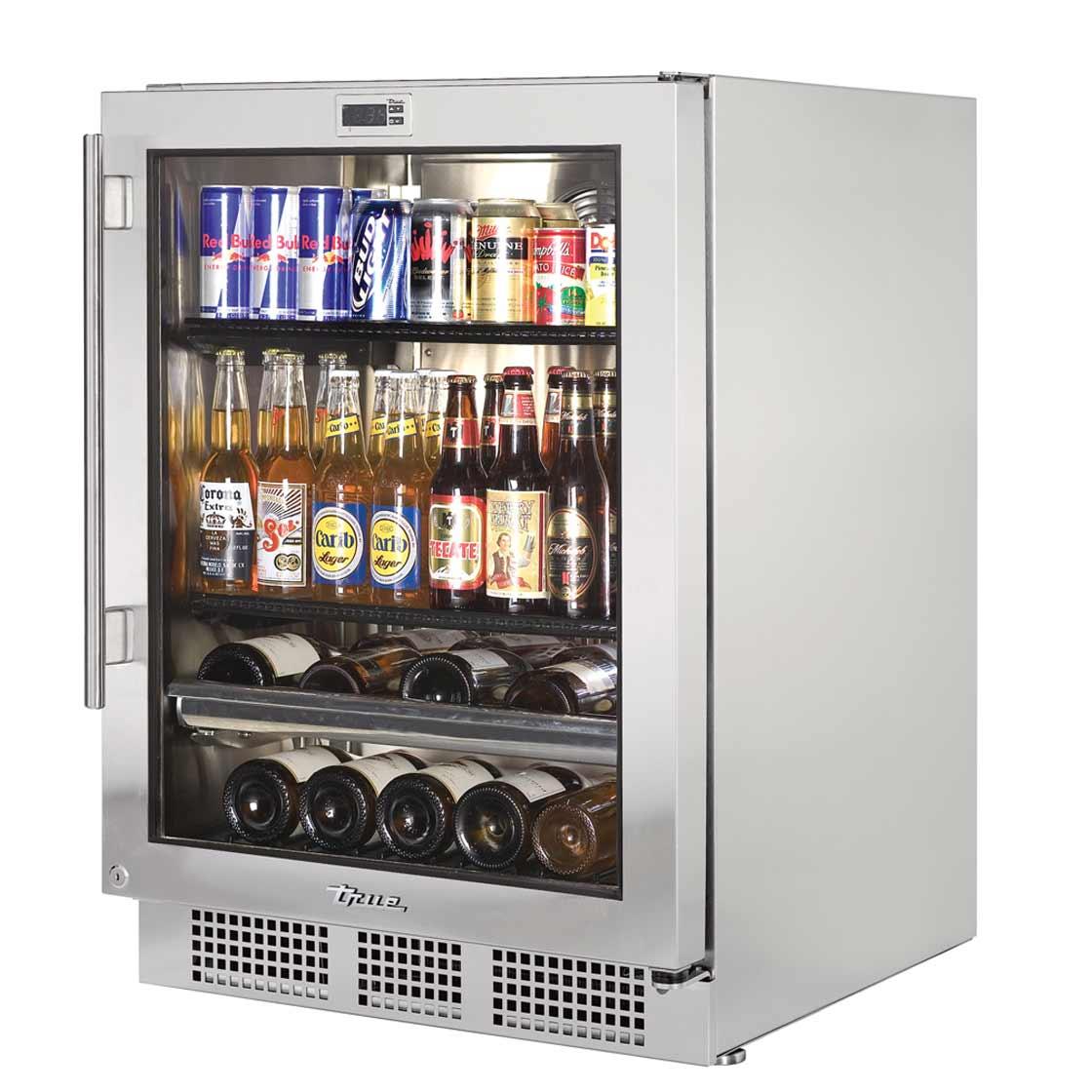 True Outdoor Glass Door Beverage Center Professional Series