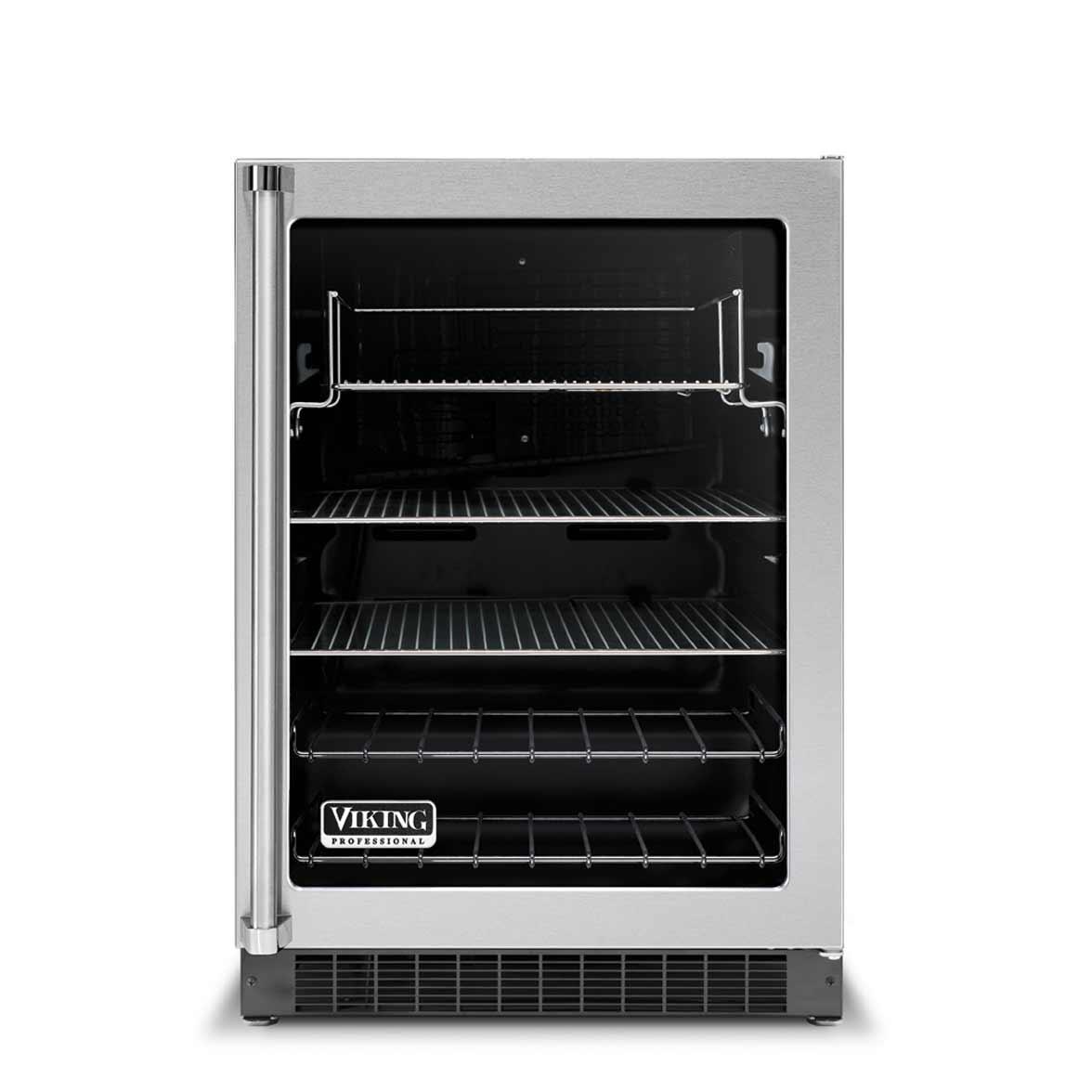 Viking beverage refrigerator glass door center