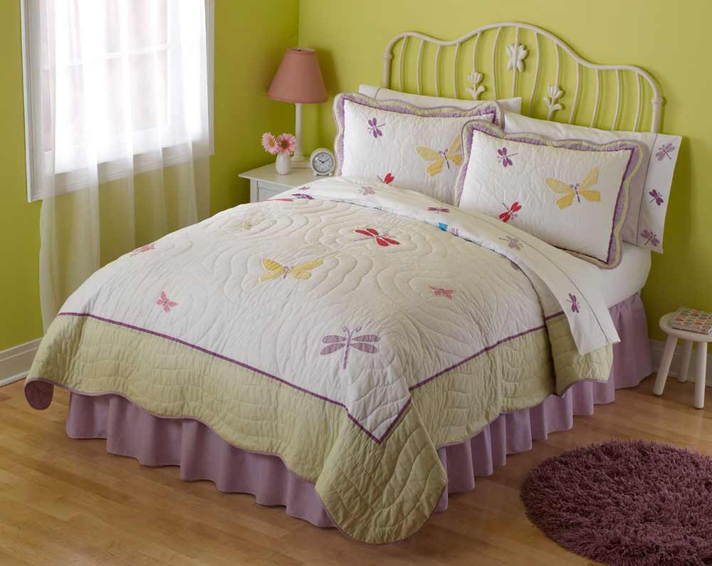 bedspreads for teen girls with butterfly and dragonfly design