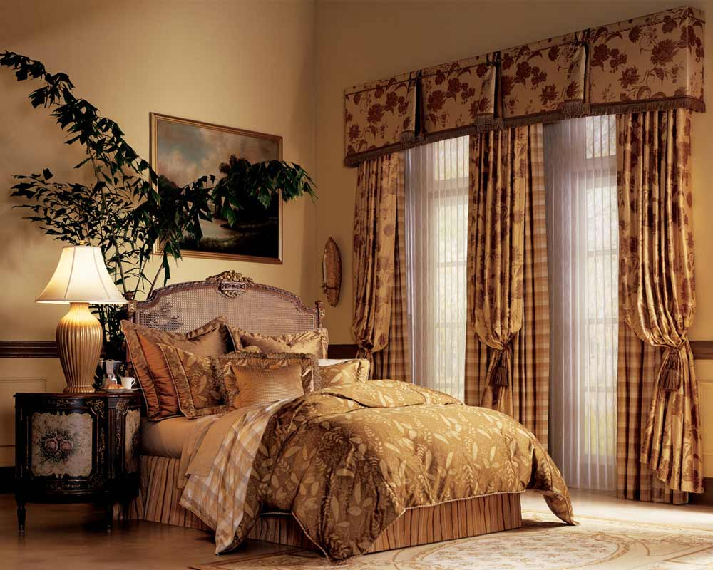elegant bedroom window curtains and luminette drapes