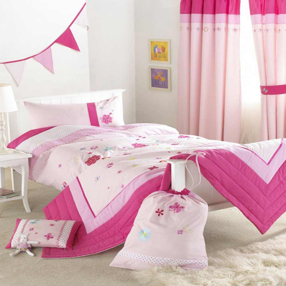 pink bedspreads for girls with butterfly motif