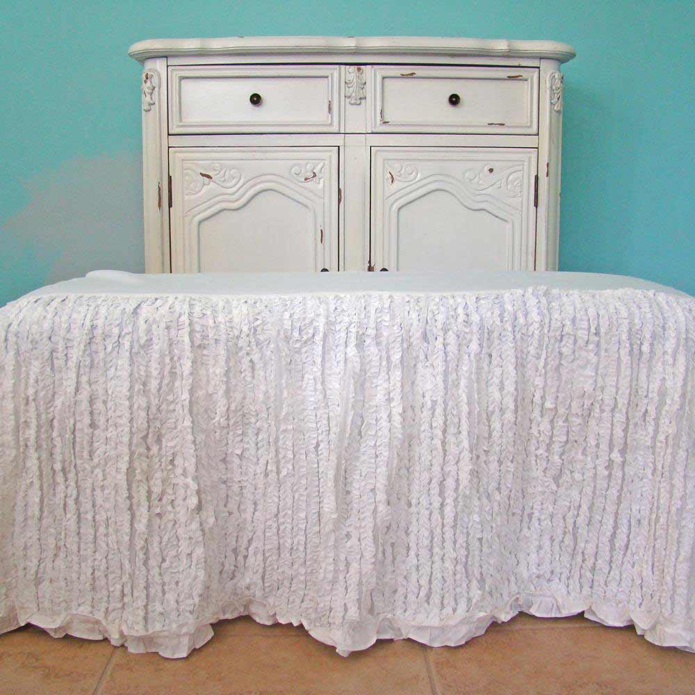 ruched tiny bedskirts queen in white