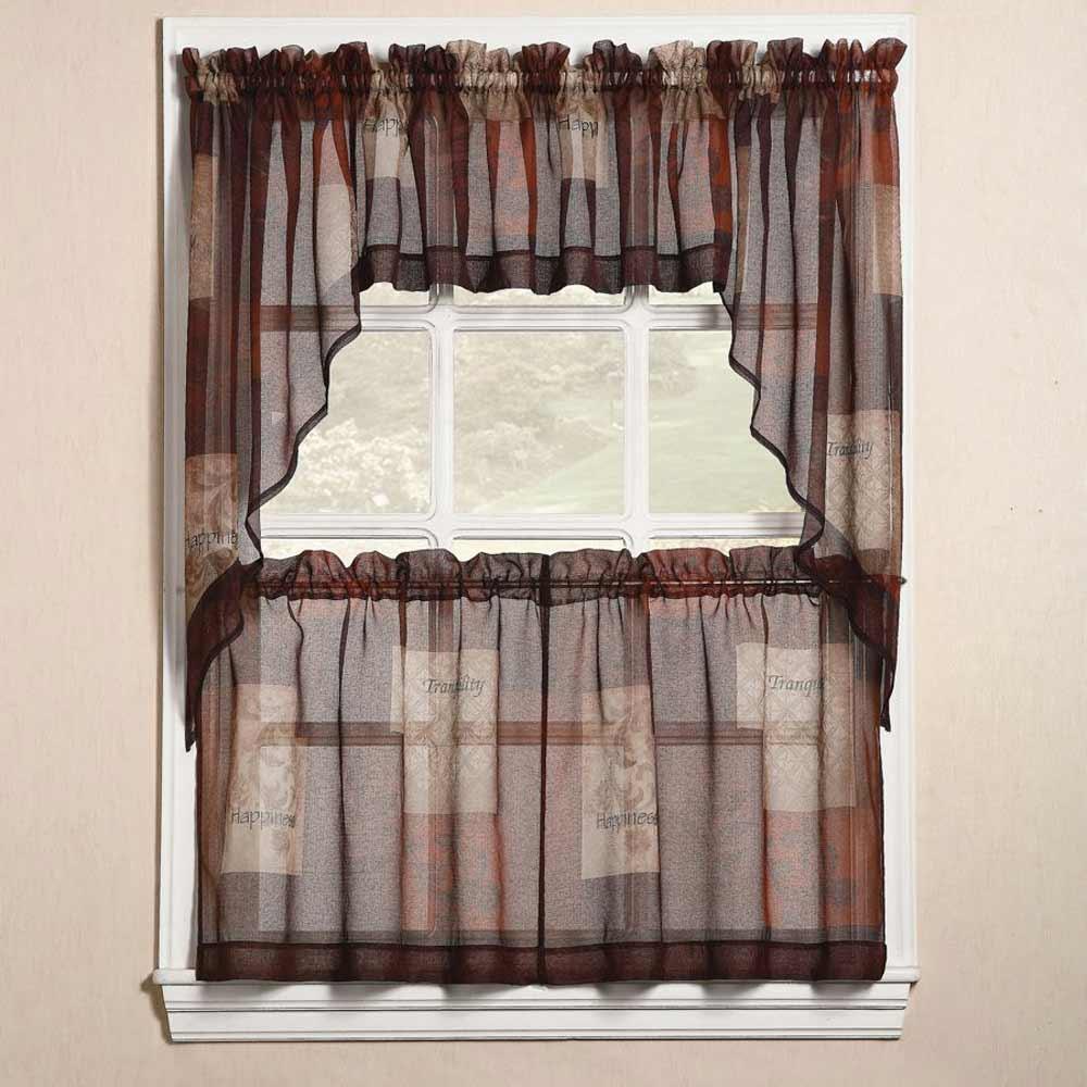 Ana Linen Eden Kitchen Curtains in Burgundy