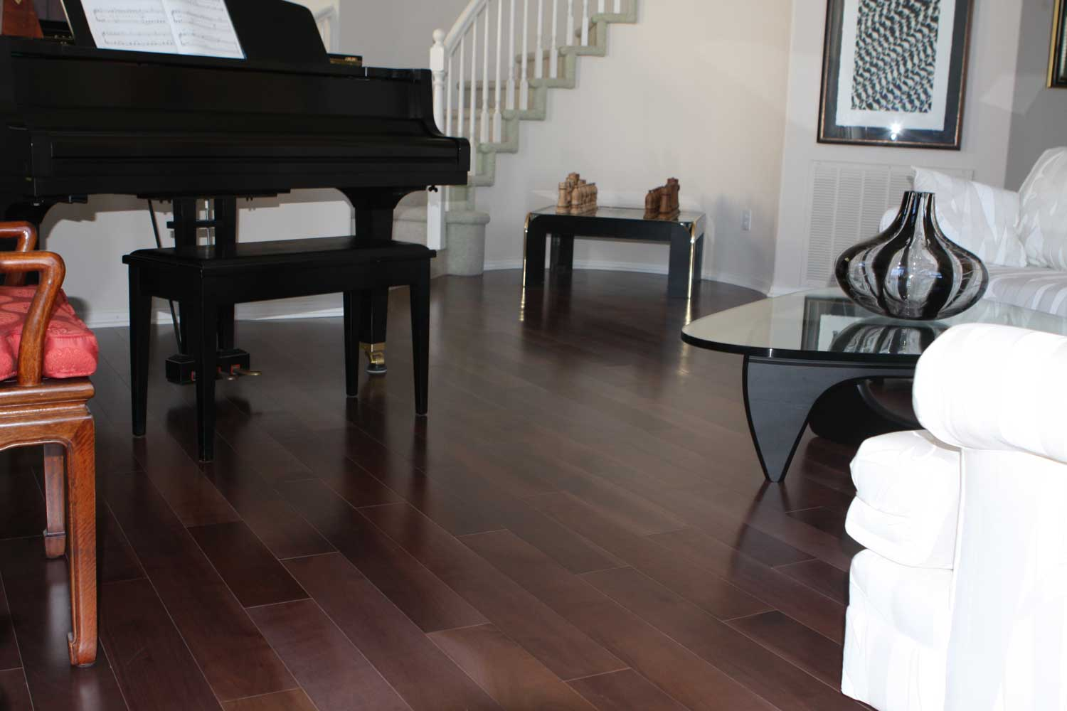 Black solid walnut floor in living room