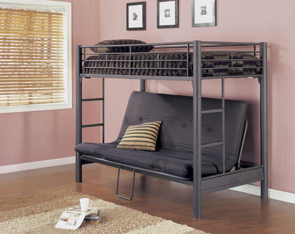 Bunk Bed for Adults with Matte Black Futon Furniture