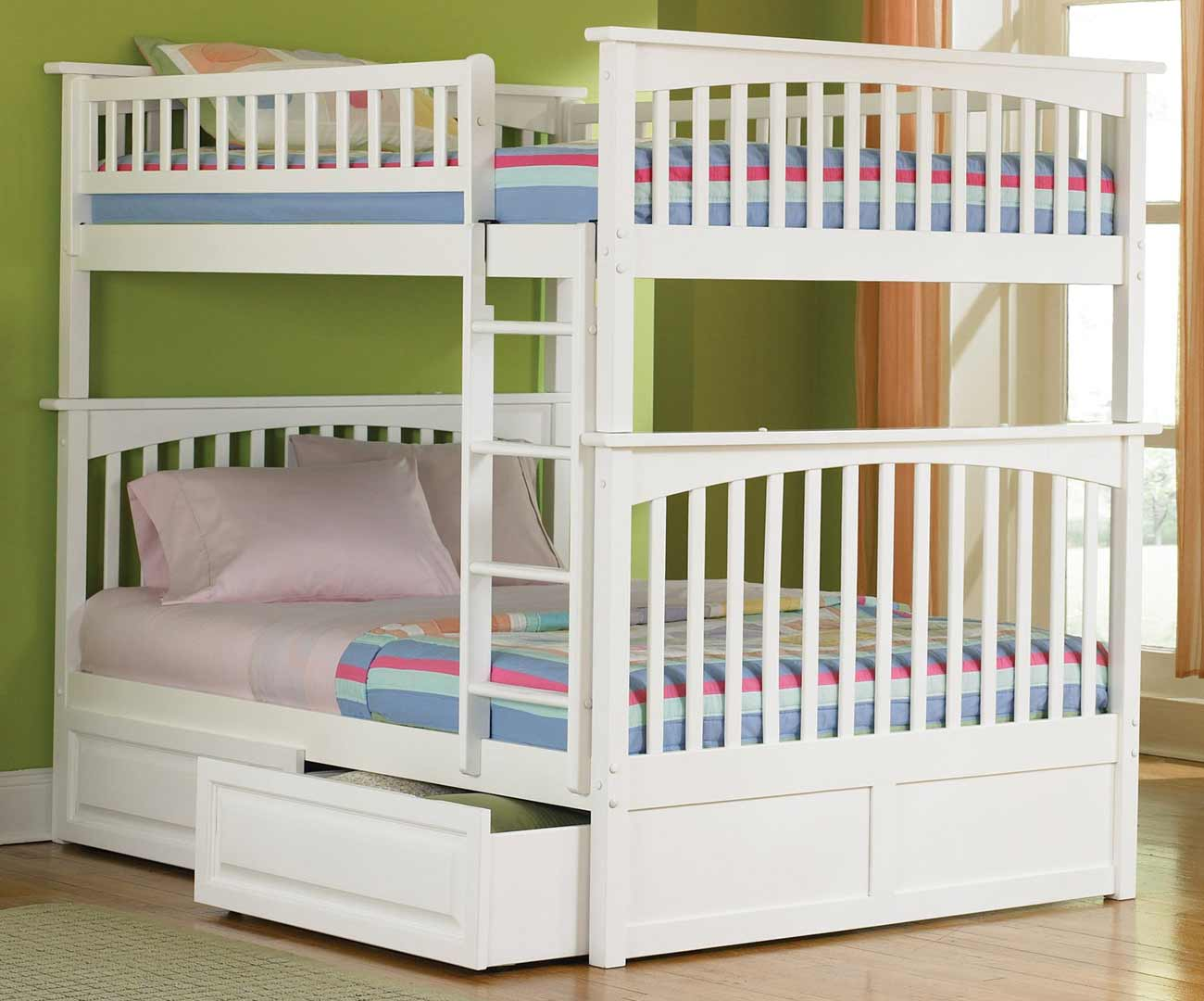 Columbia full size white bunk beds for teens